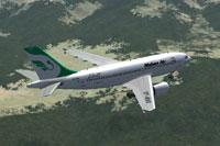 Screenshot of Mahan Air Aibut A310 in flight.