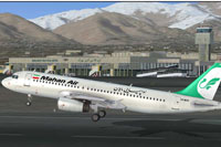 Screenshot of Mahan Air Airbus A320 taking off.