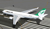Screenshot of Mahan Air Airbus A330-200 on runway.