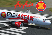 Screenshot of Malaysia AirAsia Airbus A320 on runway.
