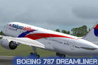 Screenshot of Malaysia Airlines Boeing 787-800 taking off.