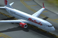 Screenshot of Malindo Air Boeing 737-8GP on runway.