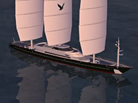 Screenshot of the Maltese Falcon Sailing Yacht on the water.