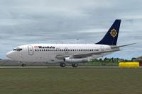 Screenshot of Mandala Airlines Boeing 737-200ADV preparing for take-off.