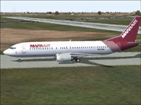 Screenshot of Mark Air Boeing 737-400 on runway.