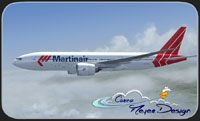 Screenshot of Martinair Boeing 777-200LR in flight.