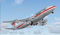 Screenshot of Martinair Cargo Boeing 747-306B raising landing gear.