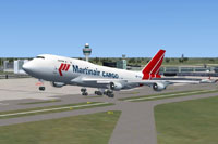 Screenshot of Martinair Cargo Boeing 747-400 taking off.