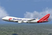 Screenshot of Martinair Cargo Boeing 747-400 in flight.