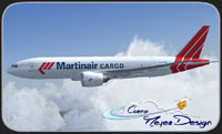 Screenshot of Martinair Cargo Boeing 777 in flight.