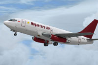 Screenshot of Megantara Boeing 737-200F in flight.