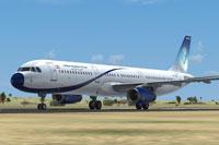 Screenshot of Meraj Air Airbus A321 on runway.
