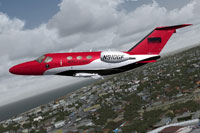 Screenshot of Mercy Flight Cessna 510 Mustang in flight.
