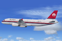 Screenshot of Meridiana Airbus A320 in flight.