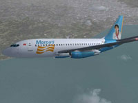 Screenshot of Merpati Boeing 737-200 in flight.