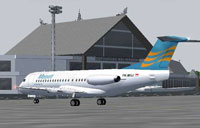 Screenshot of Merpati Nusantara Airline Fokker 28 on the ground.