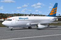 Screenshot of Merpati Nusantara Airlines Boeing 737-200 on runway.