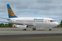 Screenshot of Merpati Nusantara Boeing 737-200ADV on the ground.