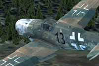 Screenshot of a dirty Messerschmitt BF109-K4 in flight.