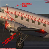 Screenshot of 'World Travel Airlines' prop on runway.