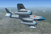 Screenshot of Meteor F8 in flight.