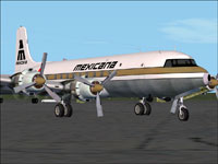 Screenshot of Mexicana Douglas DC-6B on the ground.