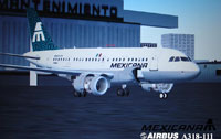Screenshot of Mexicana de Aviacion A318-111 on the ground.