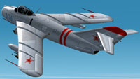 Screenshot of MiG-17F in flight.