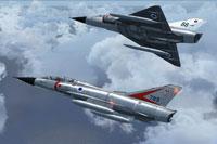 Screenshot of two Mirage fighters in flight.