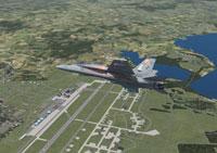 Screenshot of Jet flying over Misawa Air Base.