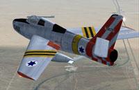 Screenshot of F84F Thunderstreak in flight.