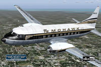 Screenshot of Mohawk Airlines Convair CV-240 in flight.
