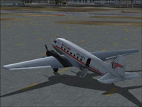 Screenshot of Mohawk Airlines Douglas DC-3 on the ground.