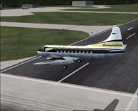 Screenshot of Mohawk Airlines Martin 404 on landing approach.