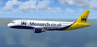 Screenshot of Monarch Airlines Airbus A320-214 in flight.