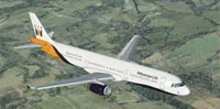 Screenshot of Monarch Airlines Airbus A321 in flight.