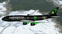 Screenshot of Monster Energy Boeing 747-8i in flight.