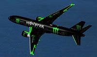 Screenshot of Monster Energy Boeing 777-200 in flight.