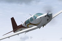 Screenshot of Mooney M20J N909FL in flight.