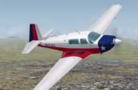 Screenshot of Mooney M20J in flight.