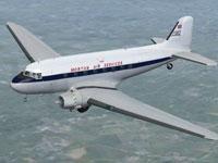 Screenshot of Morton Air Services Douglas DC-3 in flight.