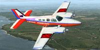 Screenshot of orange/white/purple/blue Beechcraft Baron 58.
