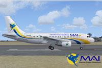 Screenshot of Myanmar Airways International Airbus A319 on runway.