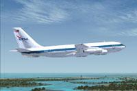 "Screenshot of NASA Boeing 707 a.k.a the ""Vomit Comet"", in flight."