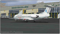 Screenshot of Naft Airlines Fokker 100 on the ground.