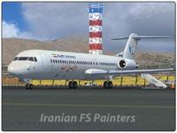 Screenshot of Naft Airlines Fokker F100 on runway.