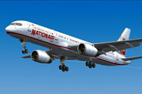 Screenshot of Nationair Boeing 757-200 in flight.