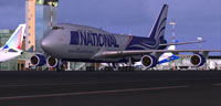 Screenshot of National Airlines Boeing 747-400 on runway.
