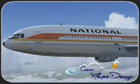 Screenshot of National Airlines Lockheed L-1011 TriStar in the air.