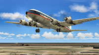 Screenshot of National Douglas DC-6B shortly after take-off.